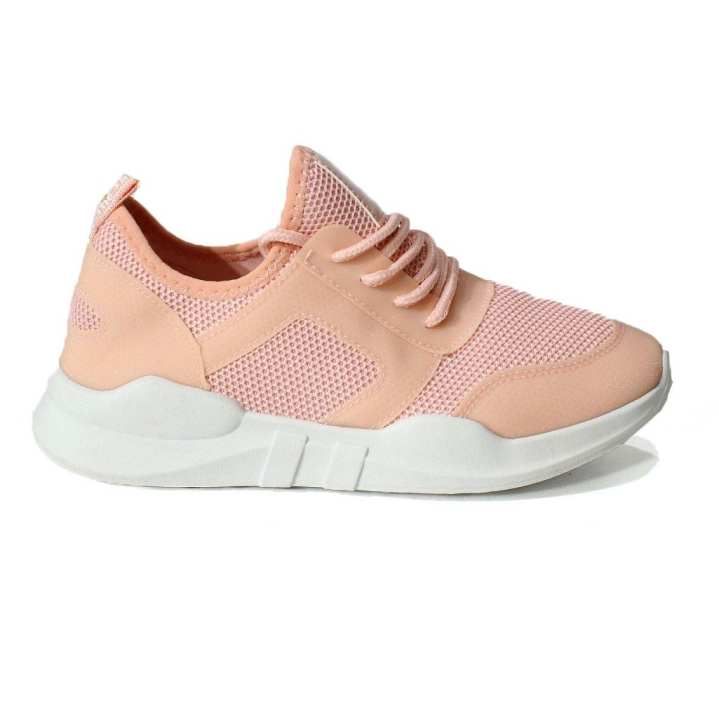 Light Pink Mesh Sports Shoes For Women