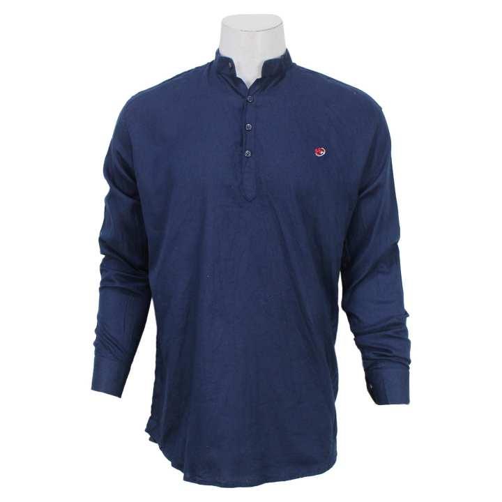 Blue Cotton Kurta Shirt For Men