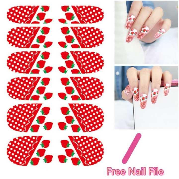White Dot Rose Strawberry Cartoon Design Nail Art Sticker Self Adhesive