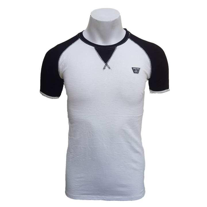 White/Black Stretchable Cotton Tshirt For Men