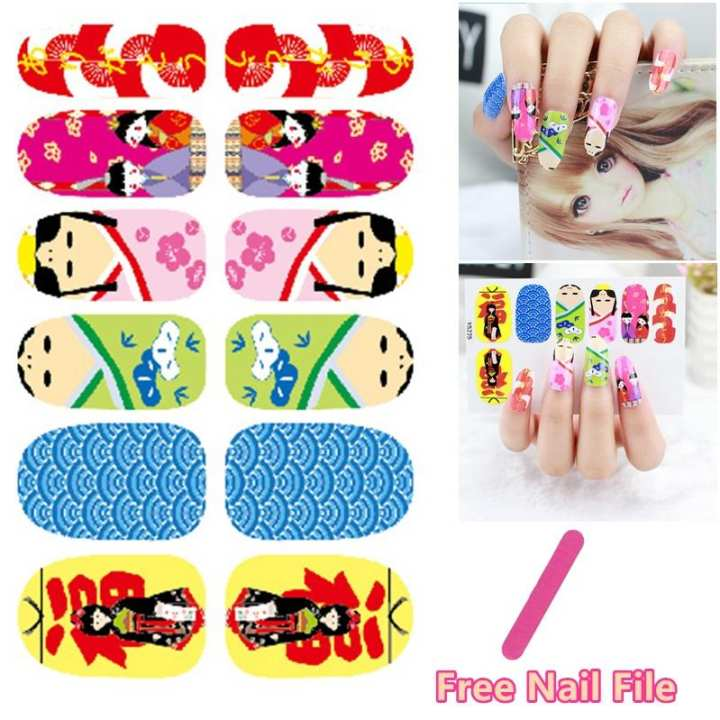 Cute Sweet Japan Kimono Cartoon Design Nail Art Sticker Self Adhesive