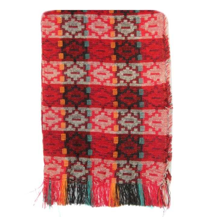 Red/Maroon Textured Khata Shawl - Unisex