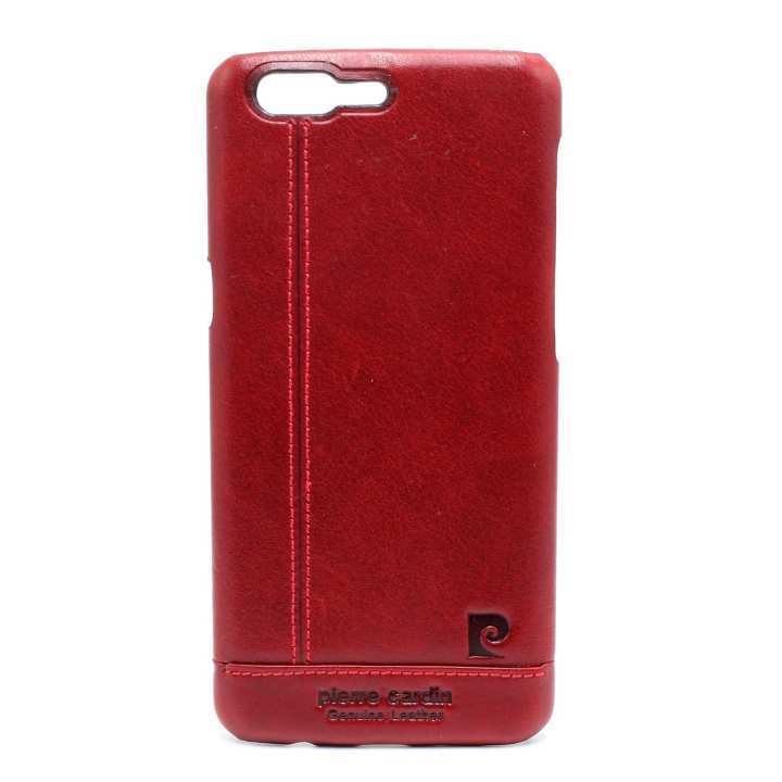 Maroon Leather Mobile Case For One Plus 5