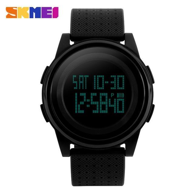 1206 Ultra Slim Sporty Digital Watch for Men - Black