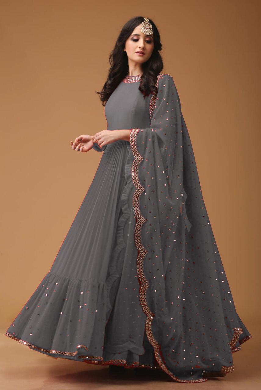 11ecad516 Attish Designer Faux Georgette Anarkali For festival Season With Daimond  Work (Grey Color)