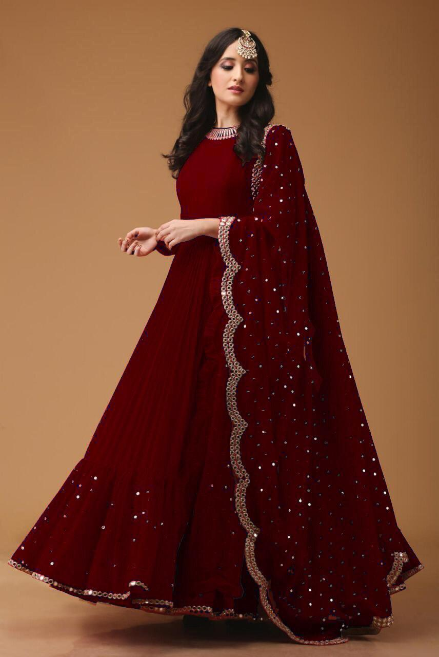 477abae4dec18 Attish Designer Faux Georgette Anarkali For festival Season With Daimond  Work (Maroon Color)