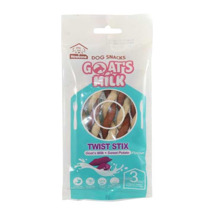 Howbone Dog Snacks Goat's Milk + Sweet Potato Flavour Twist Stix - 100g