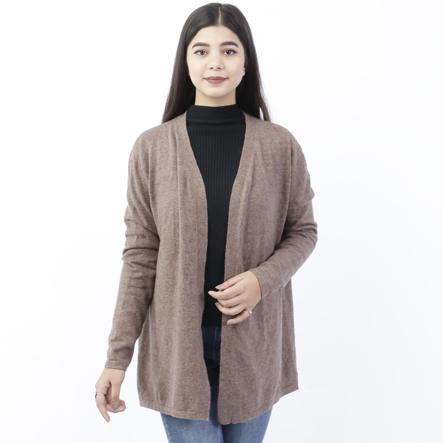 1bd70a4a547 Chestnut Brown Solid Mix Cashmere Outwear For Women
