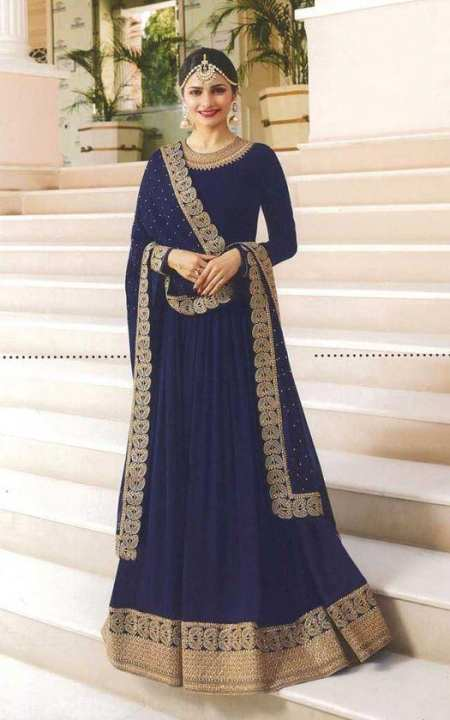 Faux Georgette Embroidered Kurta / suit / Gawn (Blue)