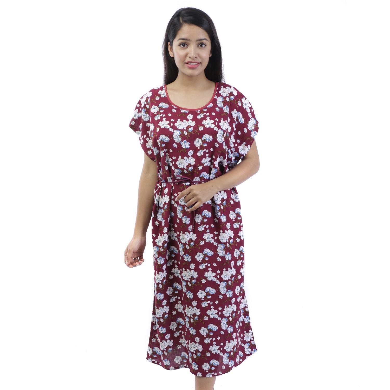 Long One piece Robe Floral soft Rayon Night dress   Night wear   Nightgown d7b75d61e