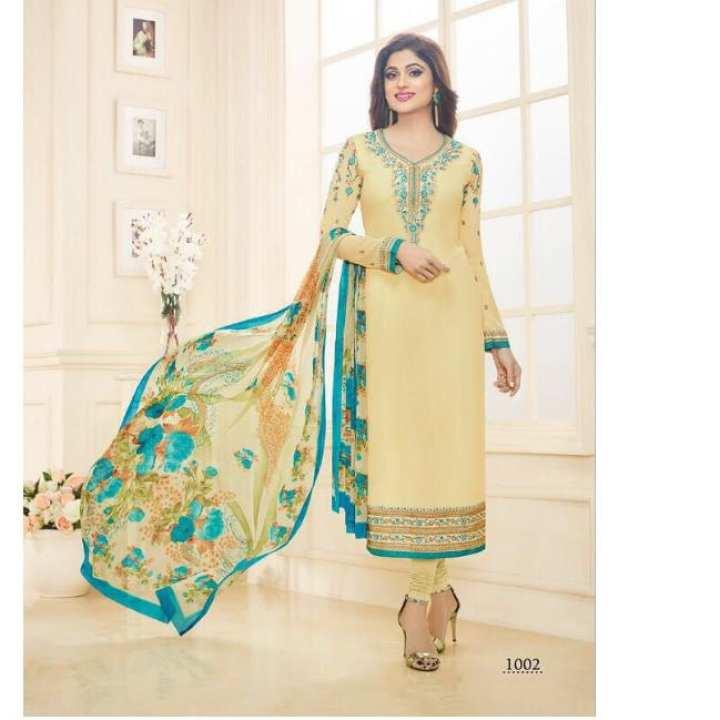 Georgette Designer WHEAT Color Long Salwar Kurta For Women
