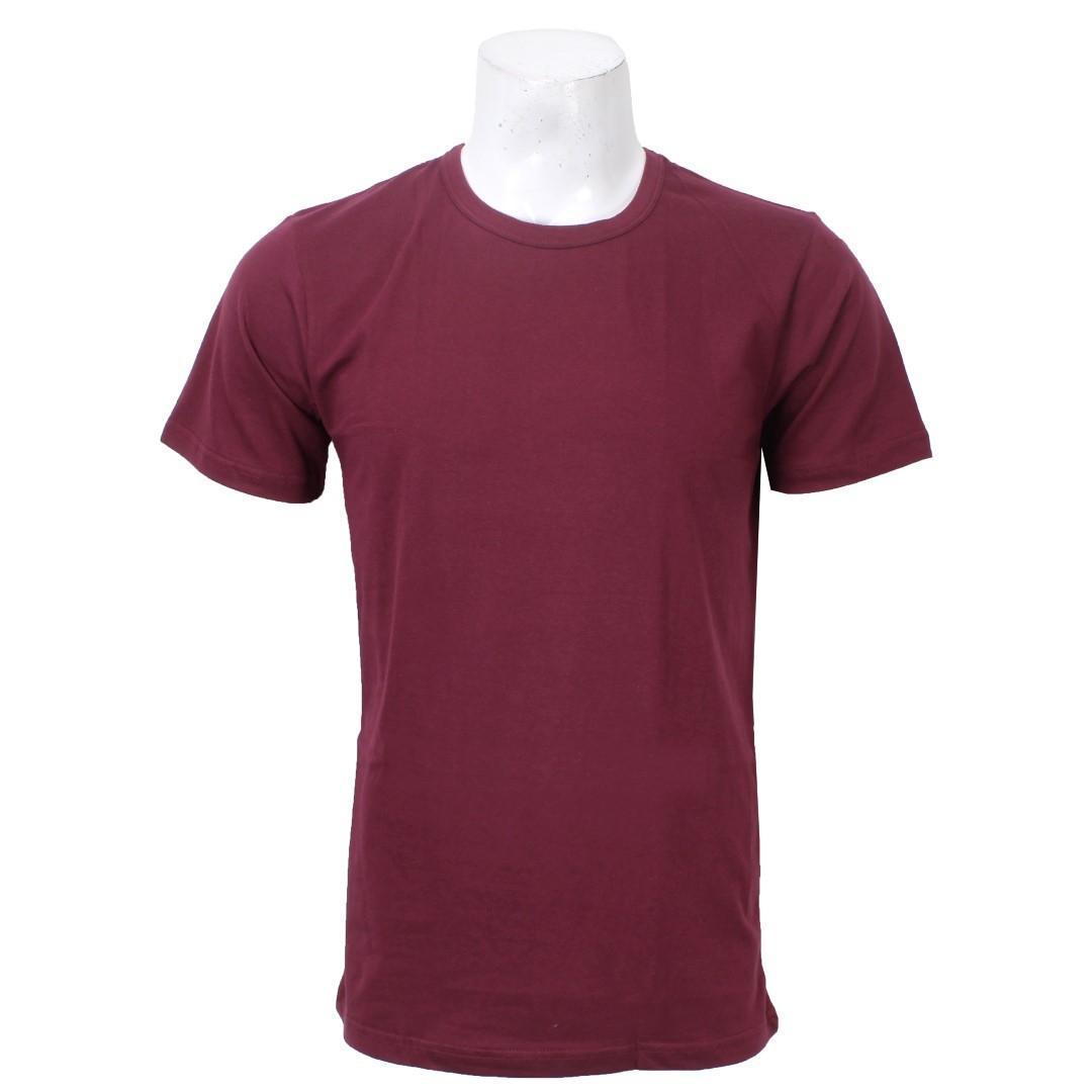 d9e572f9 Maroon Round Neck Plain Cotton Tshirt For Men