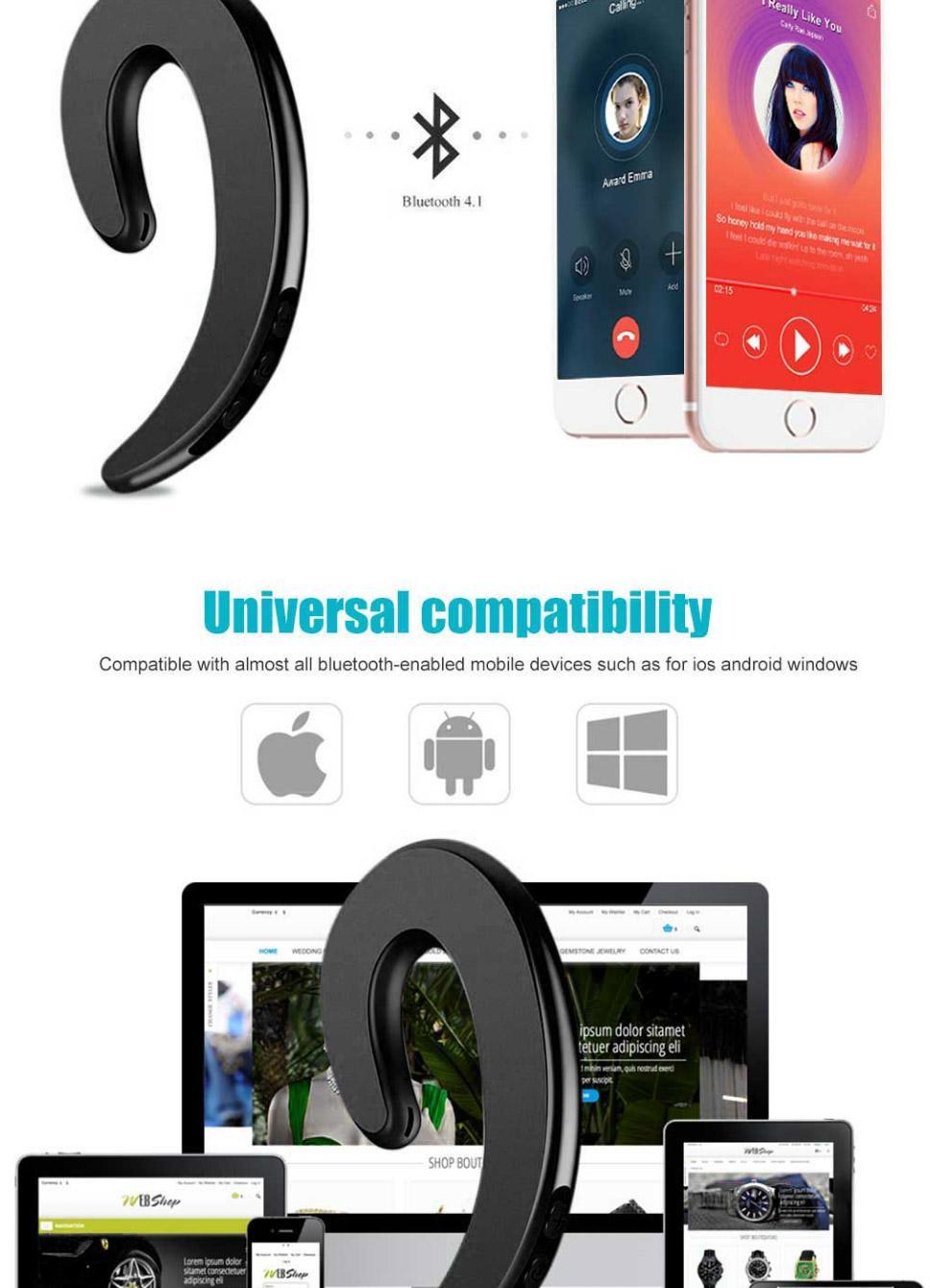 Dual Bluetooth Sport Earphone Bone Senor Wireless Ear-Hook No Ear Plug No  Pain Headphone With Mic