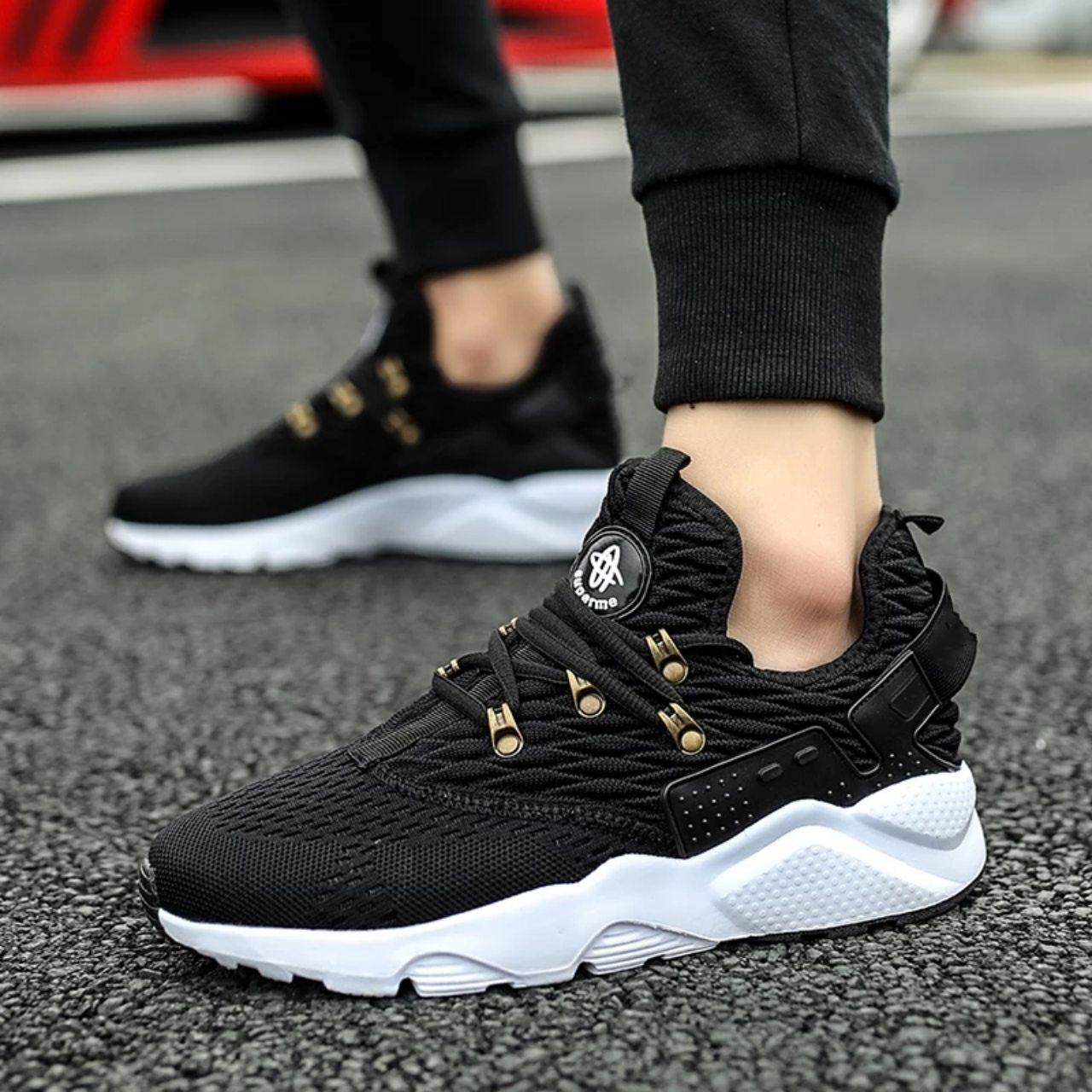12b94c34b Black Air Mesh Comfortable Breathable Running Sneaker For Men