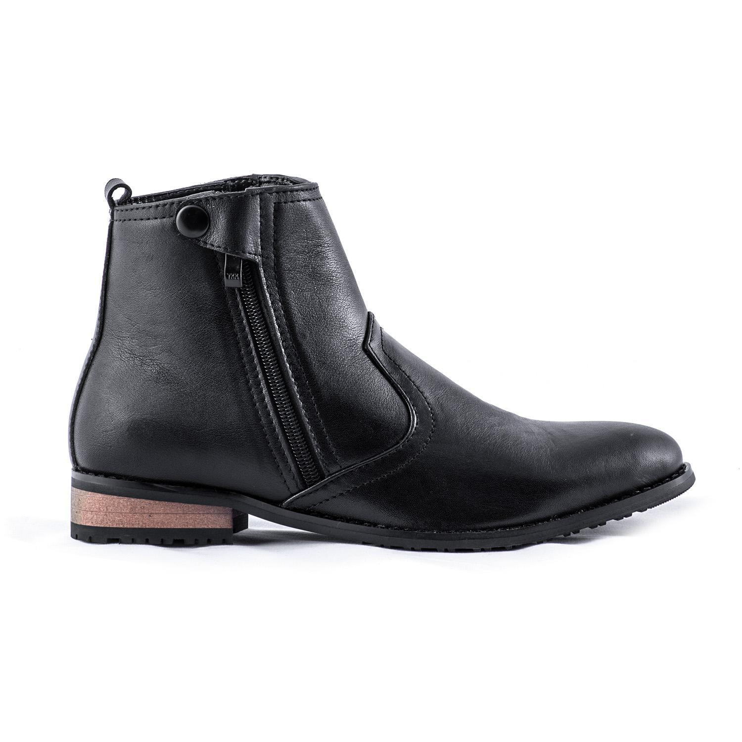 BF Dear Hill Solid Black Side Zip Closure Formal Ankle Boots For Men - 271