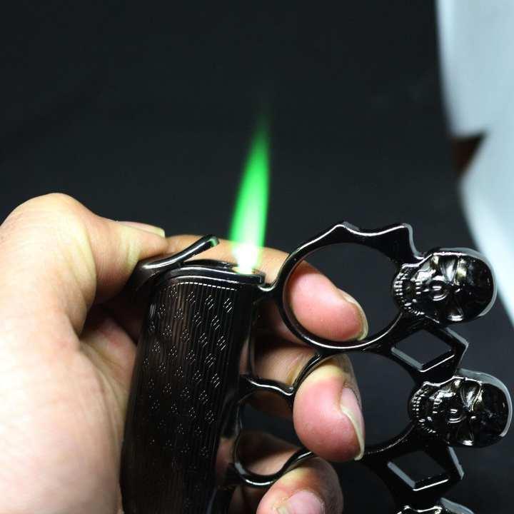 Knock-Zippo Cigarette Lighter Gas Refilling Colourful Flame