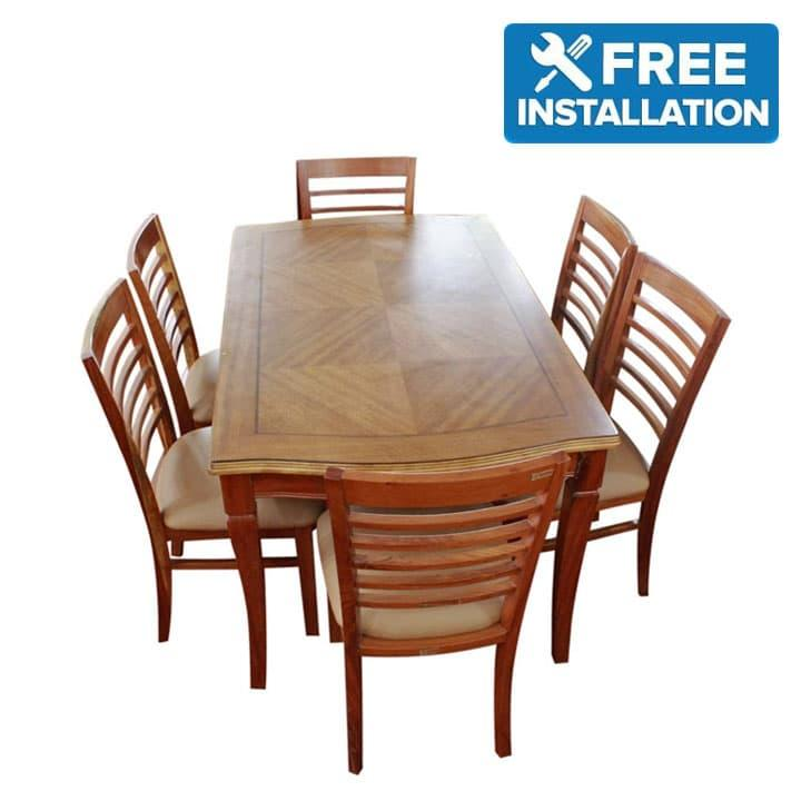 225 & Sunrise Furniture 6-Seater Wooden Oval Dining Table - Light Coffee