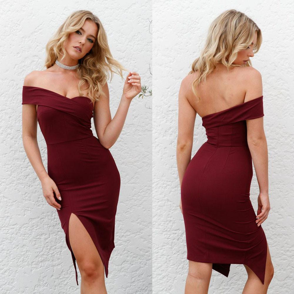 43fd6db513 FashionieStore Women One Shoulder Bodycon Sleeveless Evening Party Club  Short Mini Dress RD/L