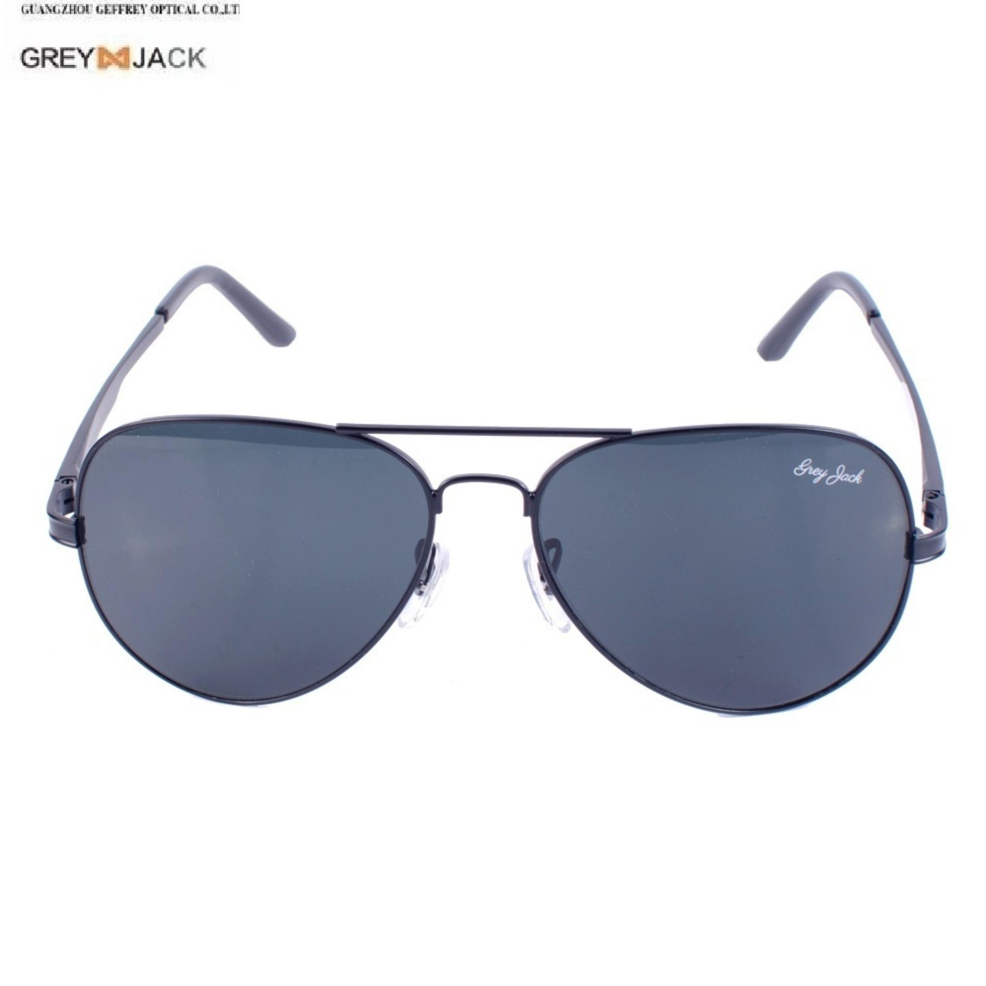 e28b9debef3 GREY JACK Pilot Design Flat Black Lenses 400% UV Protected Sunglasses  (Unisex)