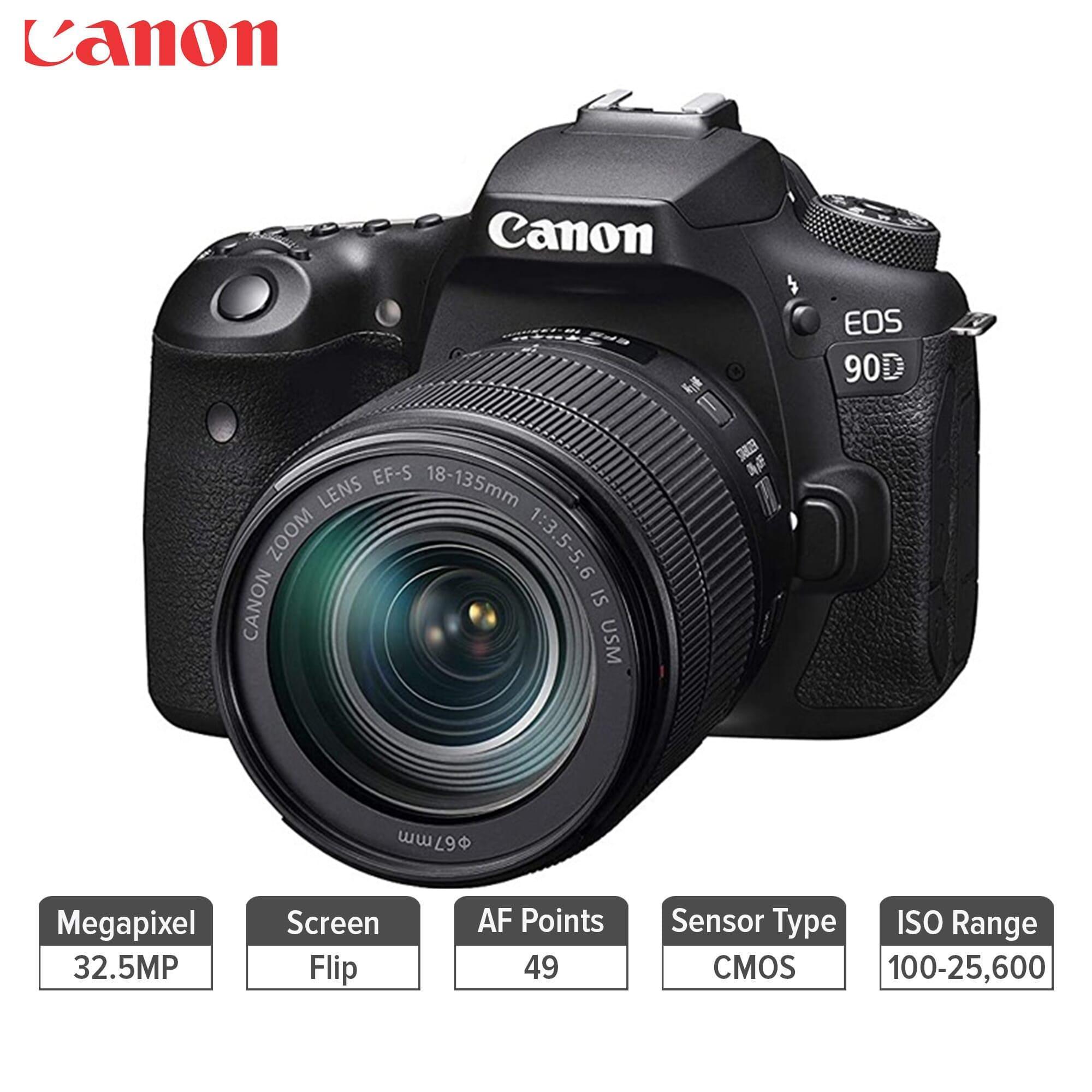 Canon Eos 90D Digital Slr Camera With Ef-S 18-135Mm F/3.5-5.6 Image Stabilisation Usm Lens Kit (16 Gb Sd Card) - Black