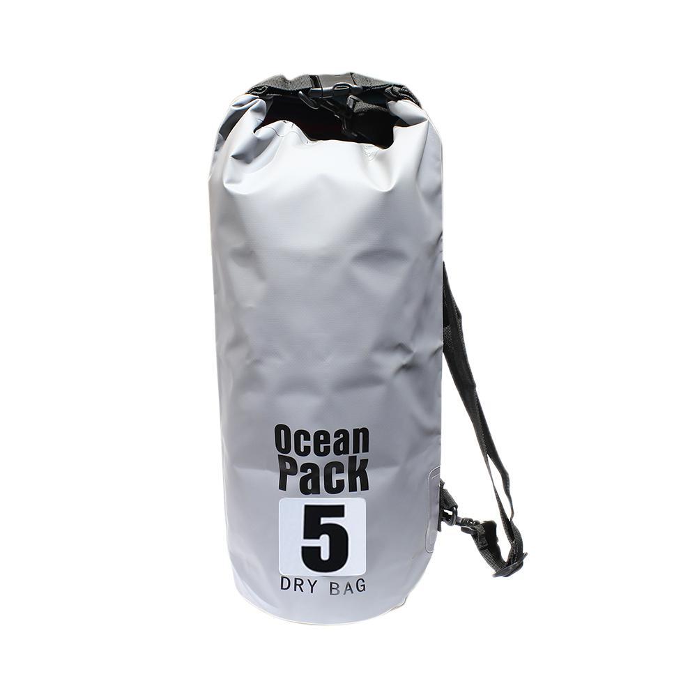 Ocean Pack Grey/Black Outdoor Waterproof Dry Bag - 5 Liters