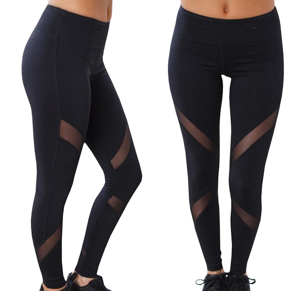6e34b300bd763 Women High Waist Sexy Skinny Leggings Patchwork Mesh Push Up Yoga Pants