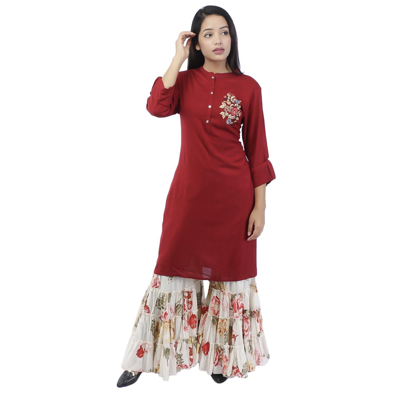 best website e4706 2765a Maroon White Floral Printed Kurta Gharara Set For Women