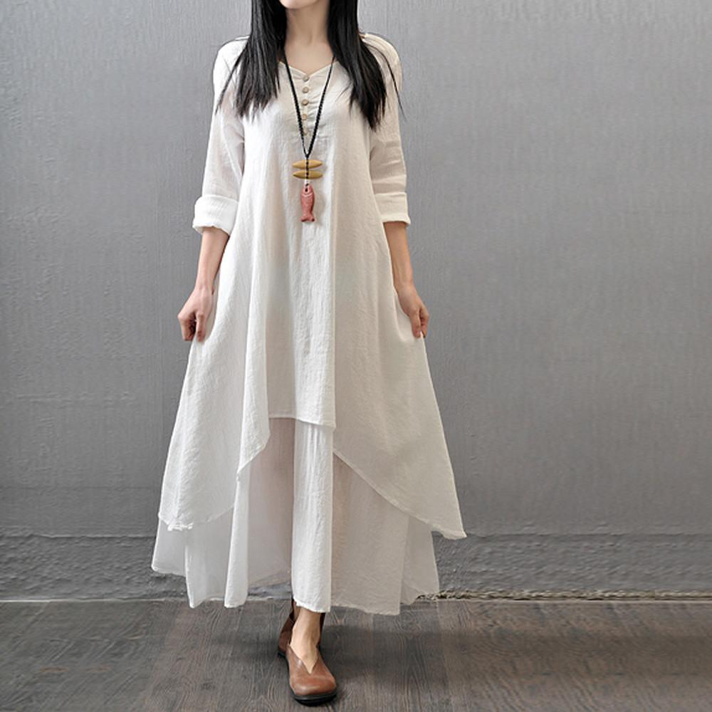 643fa26989999 FashionieStore Women Casual Loose Long Sleeve Cotton Linen Boho Long Dress  Party Maxi Dress