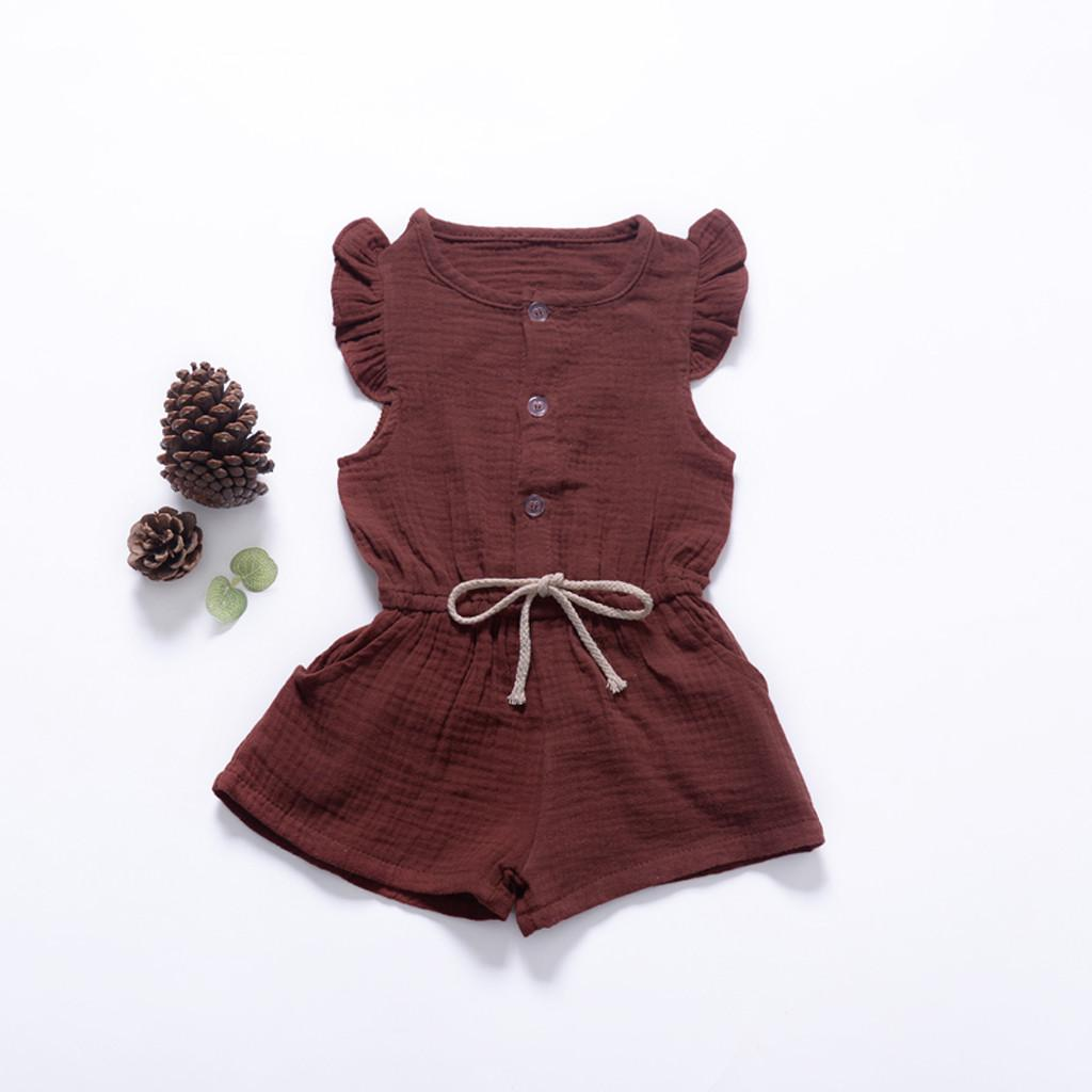 4623afb4de308 Summer Toddler Baby Girls Sleeveless Solid Print Jumpsuit Pants Romper  Clothes