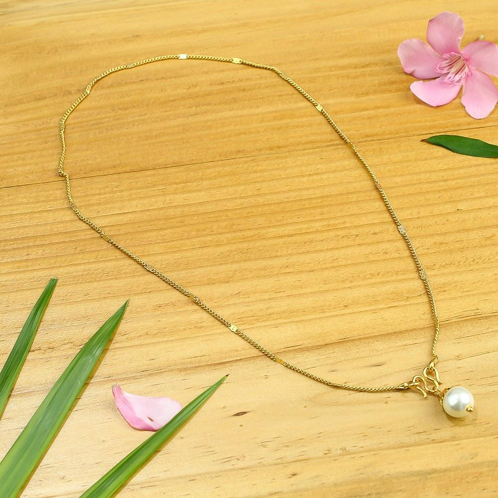 Golden Pearl Design Necklace For Women