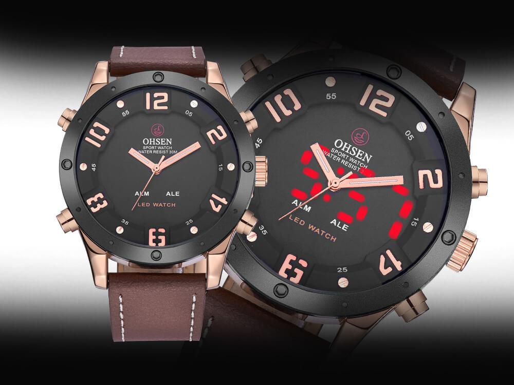 AD1708 Dual Time Luxury Sports Watch For Men- Black/Brown