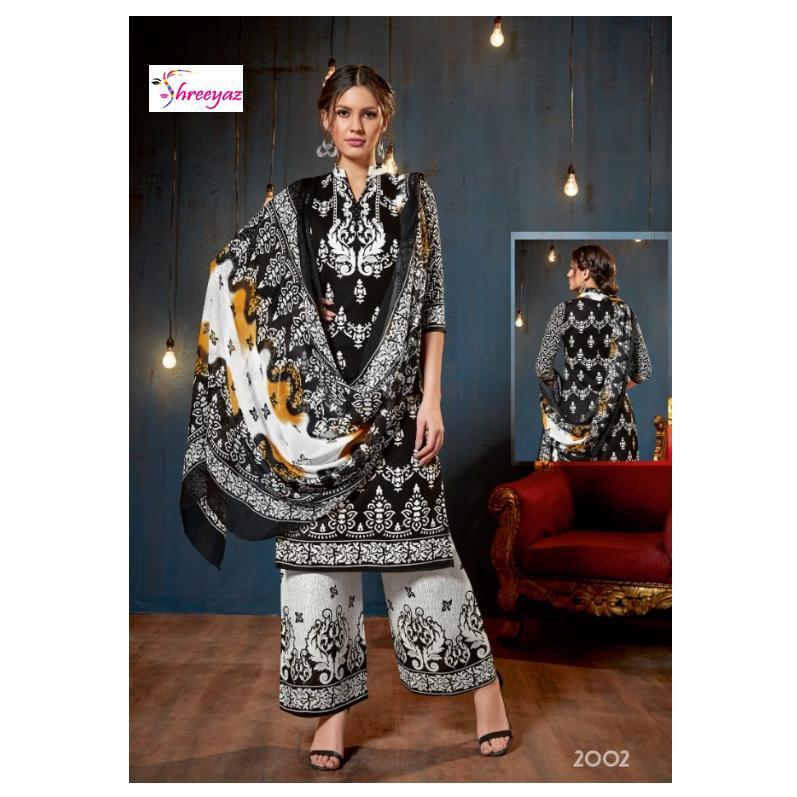 4dc43947dd Pakistani Karachi Soft Cotton Digital Style Printed - Kurta Salwar -  Black/White Color for