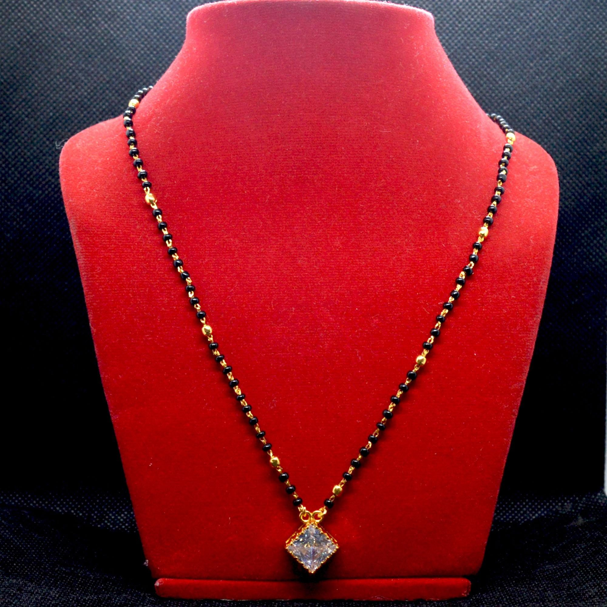 f4742cd02 Gold Plated Black Potey Beaded Stoned Nagin Serial Design Mangalsutra For  Women