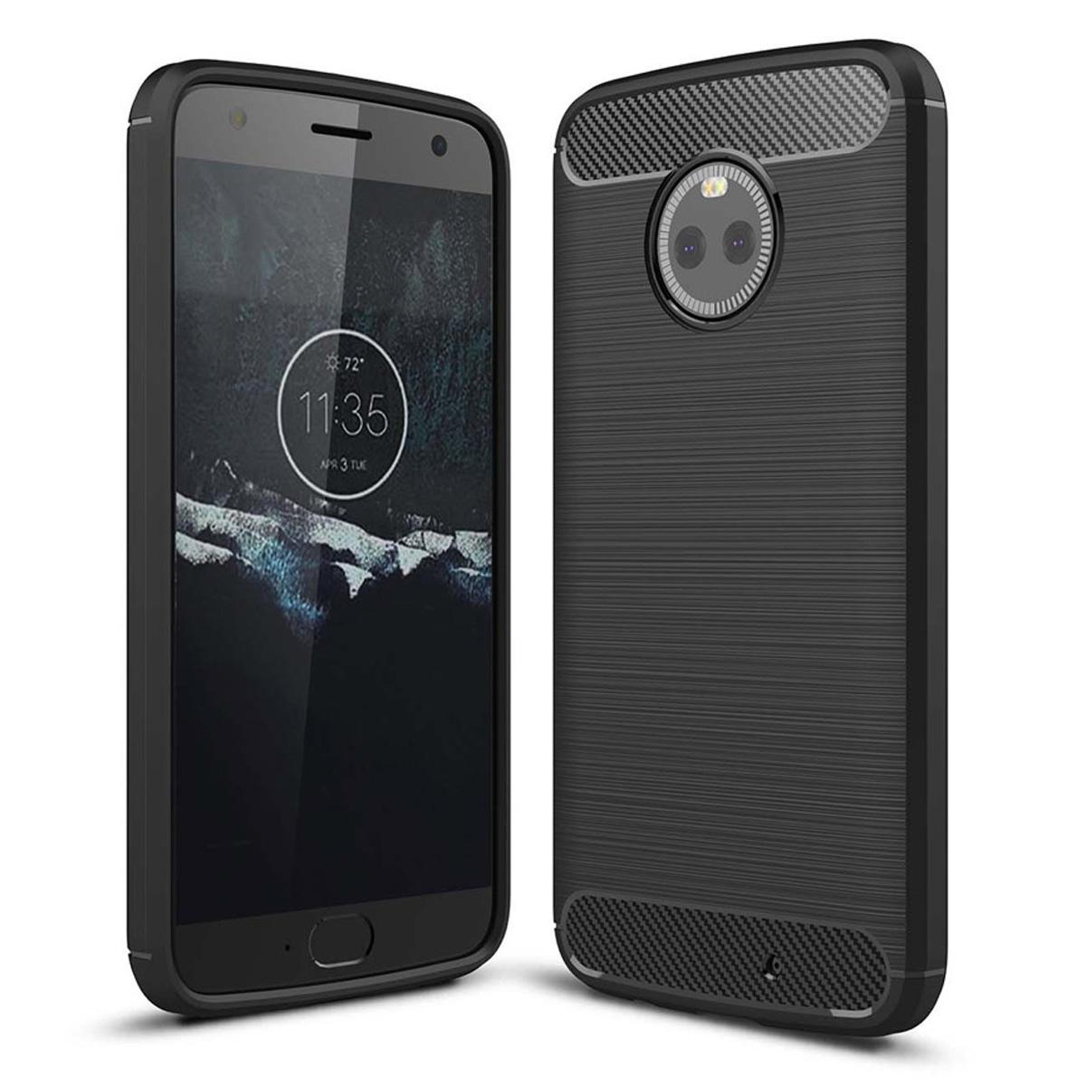 852a4dcfd Dayspirit Wire Drawing Carbon Fiber TPU Back Case for Motorola Moto X4 -  Black