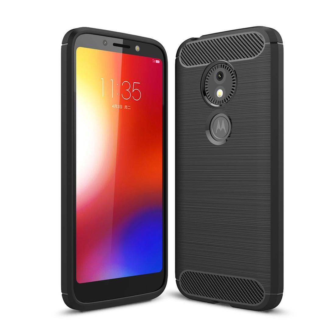 For Motorola Moto E5 Play Brushed Texture Carbon Fiber Shockproof TPU Protective Back Case (Black