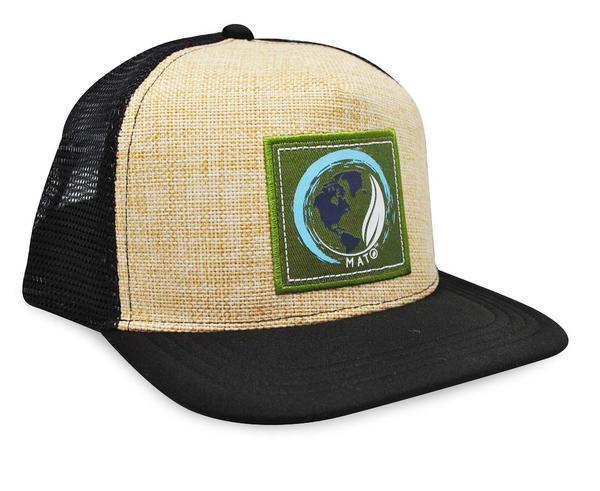 c28a58c1c09 Mato Hemp Trucker Hat Flat Brim Snapback Net Mesh Baseball Cap Black