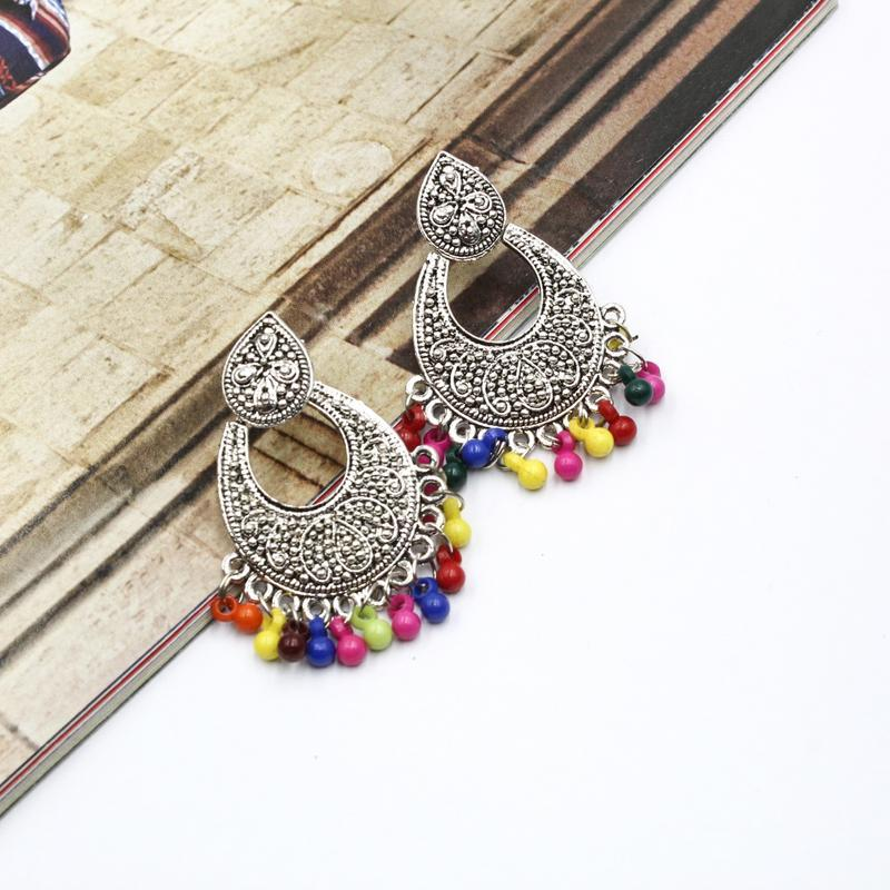 eb025f1043b44 Multicolor Pearls Hanging Silver Textured Fashionable Tradtional Drop  Earrings For Women
