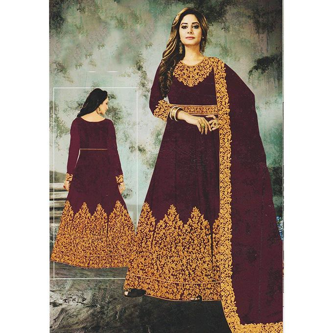 af26a5f4c3 Dark Purple Georgette Round Neck Thread Embroidered Semi Stitched Gown with  Shawl For Women