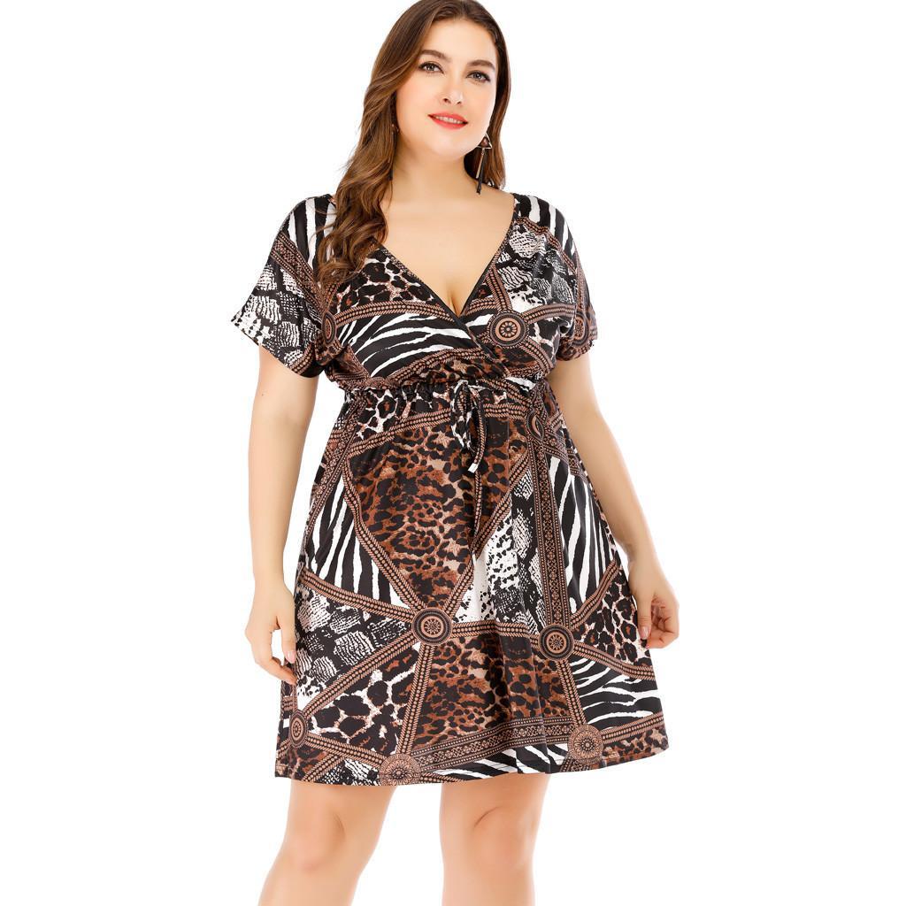 666b59c5 FashionieStore Women Plus Size Short Sleeve Print Casual Evening Party Boho  Dress