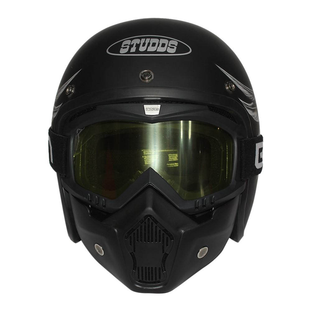 7fe7d2bd Studds Black Jet Star Classic Half Helmet With Glass And Mask