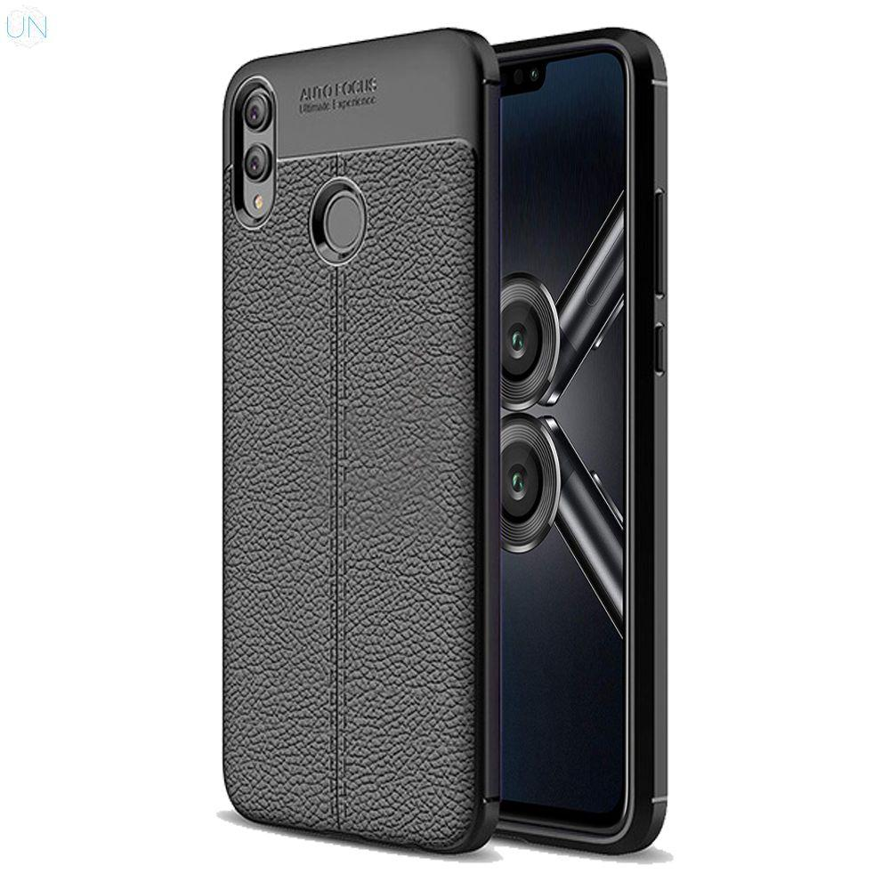 Leather Finish Cover for Huawei Honor 8X Auto Focus Soft Rubber Back Case