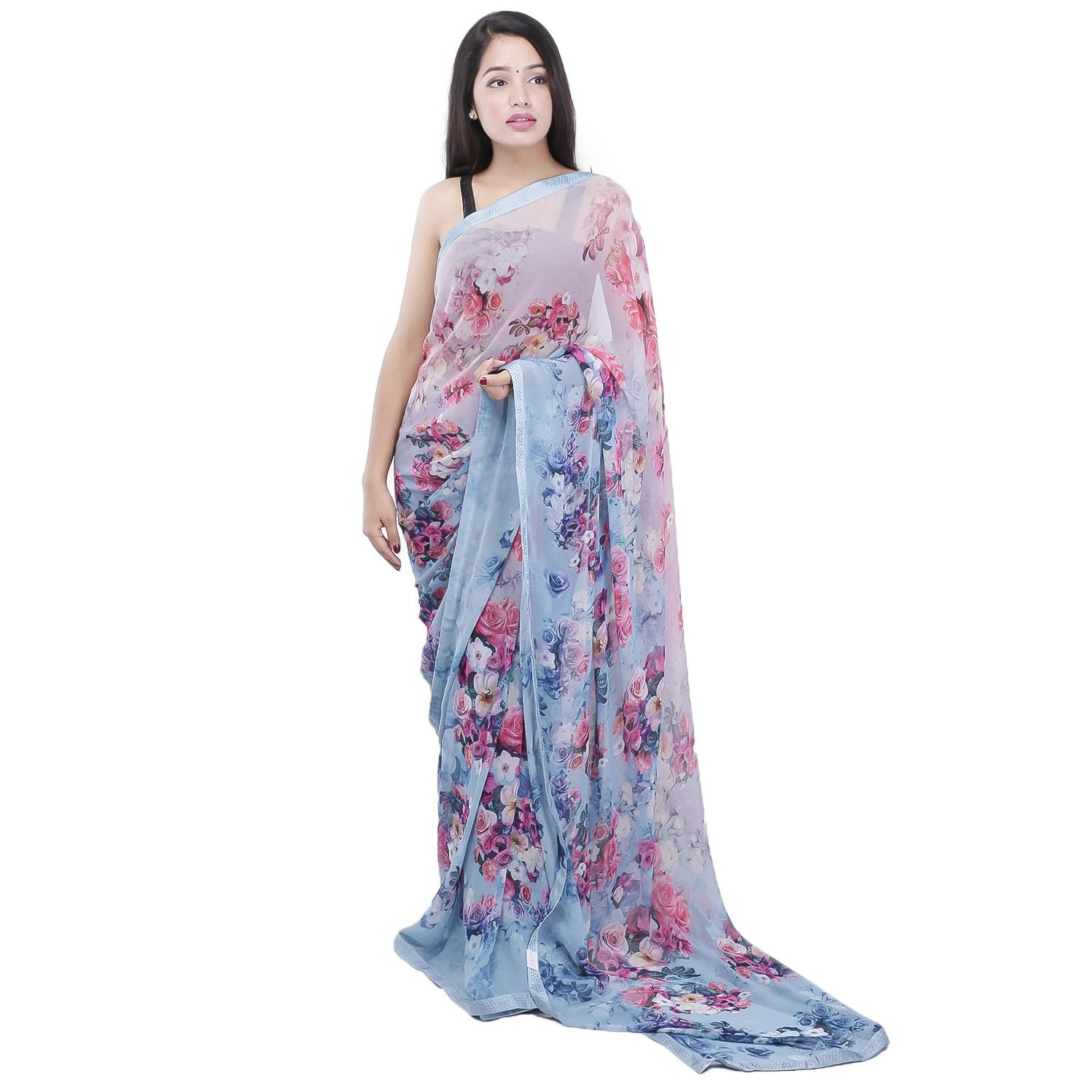 d7638685d Georgette Blue Digital Printed Saree With Swarovski Border With Unstitched  Blouse For Women