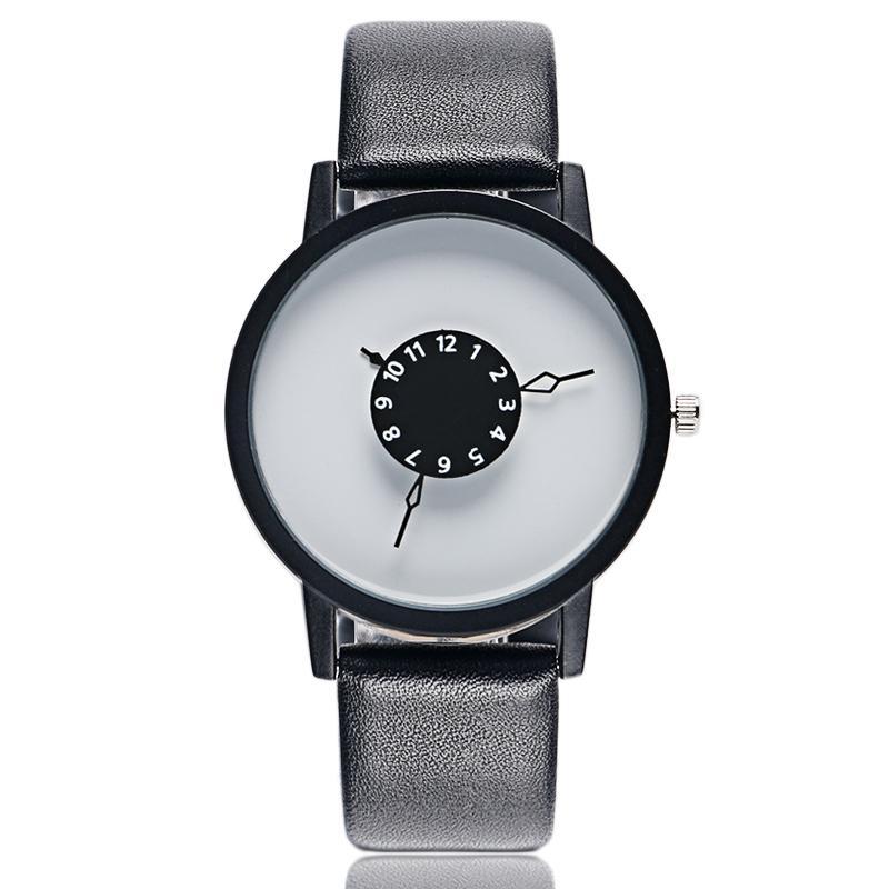 PAIDU Turntable Dial Fashion Unisex Leather Band Quartz Wrist Watch